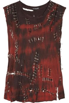 BALMAIN Red and Black Distressed Safety pin cotton tank top:
