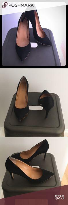 J.Crew Factory black faux suede pump J.Crew Factory Black 3+ inch pump J. Crew Factory Shoes Heels