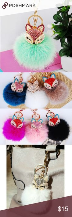 11 Colors Rhinestone Fox Real Fur Keychains $15 BRAND NEW! REAL RABBIT FUR!! RESTOCKED in 11 new Colors! 50% OFF Get them while they last for ONLY $15! Real Rabbit Fur Pom Pom Rhinestone Fox Keychains $20 each or 2/$30! VERY SOFT!!! Size: Large 8cm fur + 4cm Fox Follow me on Instagram @trumpetjewels1 Colors: Royal blue BLACK ⚫️ White Hot pink Light pink Plum/Purple Emerald Green Tan Light Blue Turquoise Blue Tiffany Green ⭐️ you can buy this listing directly and then message me the color⭐️…