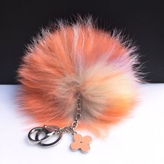 NEW Collection Dimensional Swirl Multi Color Raccoon Fur Pom Pom bag charm clover flower charm keychain piece no.257
