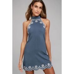 Roam On Denim Blue Embroidered Halter Dress ($38) ❤ liked on Polyvore featuring dresses, blue, blue halter top, denim sheath dress, blue halter dress, lulus dress and blue dress