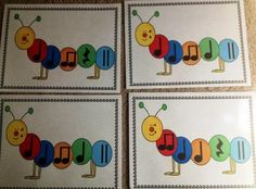 Printable caterpillar rhythm cards, PowerPoints, and activity suggestions