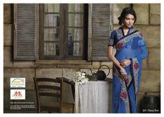Beautiful blue color net saree with jari work & resham work with elegant bhagalpuri blouse piece.