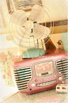 """Vintage Radio & Fan"" by slcook52 (Sylvia Cook Photography) | Cute vintage pink & silver radio w/ a vintage aqua fan sitting on top | 16 October 2010"