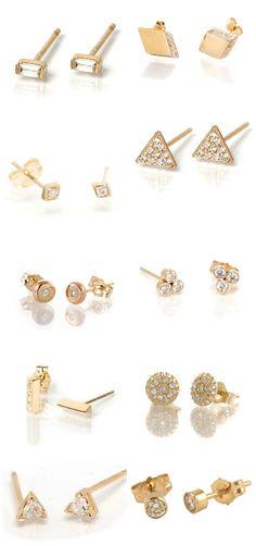 44dd95faf Diamond stud earrings in gold from Zoe Chicco. … Tiny Stud Earrings, Baby  Earrings