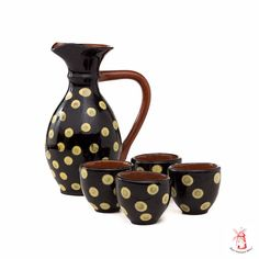 Vintage Rustic Polka dot Drink whiskey/ wine Set, Fall, Thanksgiving, Hostess Gift, Ceramic Drinking Pitcher and tiny Cups on Etsy, $27.00