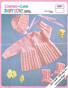 Lister 551 baby matinee coat bonnet set vintage knitting pattern PDF instant download