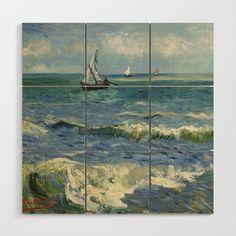 The Sea at Les Saintes-Maries-de-la-Mer by Vincent van Gogh Wood Wall Art by Palazzo Art Gallery - X Van Gogh Prints, Wood Wall Art, Painting, Products, The Sea, Wooden Wall Art, Painting Art, Paintings, Painted Canvas