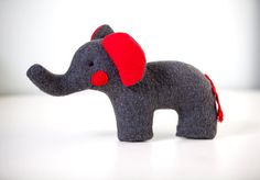 Plush Elephant Soft Toy by SimplyClassicGifts Elephant Sanctuary, Toy Art, Cute Elephant, Red Accents, Nursery Inspiration, Gifts For Family, Elephants, Art Dolls, Boy Or Girl