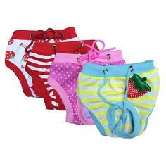 a479b0064c Female Pet Dog Puppy Sanitary Lovely Pant Short Panty Striped Diaper  Underwear Large