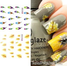 1 Sheet Colorful Feather Nail Art Water Decals Stickers