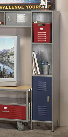<br><li>Complete your bedroom decor with this Boys Locker Media Tower<li>Media tower comes with a blue door on the bottom half and two open shelves on top<li>Tower is great for additional storage Boy Sports Bedroom, Kids Bedroom, Bedroom Ideas, Teen Boy Bathroom, Boys Basketball Bedroom, Boy Bedrooms, Kids Rooms, Blue Bedroom Decor, Shelves In Bedroom