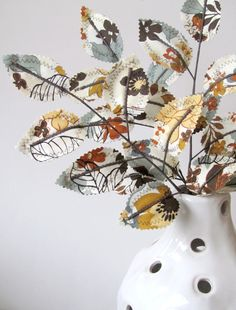 Fabric Leaves - Storm Cloud Grey Blue Brown Fall Floral Branches. $21.00, via Etsy.