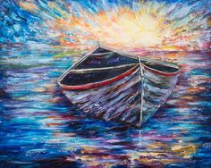 "Buy ""Wooden Boat at Sunrise"", Oil painting by Lena  Owens on Artfinder. Discover thousands of other original paintings, prints, sculptures and photography from independent artists."