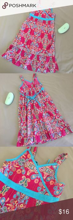 Bloome de jeune fille girls summer dress EUC. Fuchsia and turquoise with metalic gold pin striping. Fully lined. 36 inches long, and 15 inches across armpit. Thx‼️🍾 bloome Dresses Casual