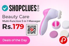 Shopclues #Joyful #Offers is offering 82% off on Beauty Care Multi-Function 5 in 1 Massager at Rs.179 Only. Crude polish accessory, Latex soft sponge, Make-up sponge, Rolling massager, Soft brush.  http://www.paisebachaoindia.com/beauty-care-multi-function-5-in-1-massager-at-rs-179-only-shopclues/