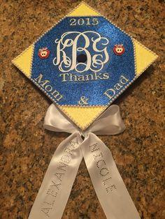 Graduation cap with sorority monogram
