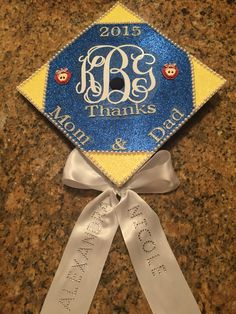 Graduation cap with sorority monogram