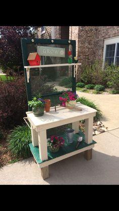 Screen door potting bench