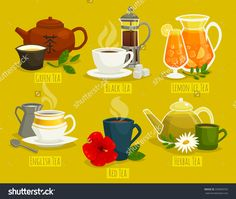 Different types of tea / vector cartoon illustration with drinks / compositions with cups and flowers