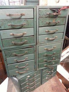 Cool vintage storage cabinet with lots of little drawers & Vintage Shaw-Walker Green Metal Barristeru0027s Industrial Cabinet in ...