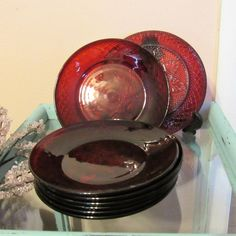 Vintage Cris D\u0027Arques Durand Ruby Red Arcoroc Luminarc Two 8\  Salad & Ruby Red Dinner Plates Arcoroc France Plates - Classique Ruby Red ...