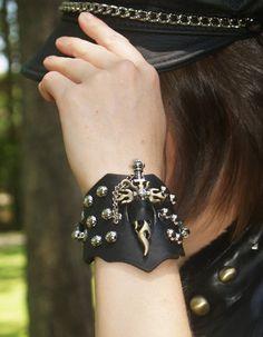 Wide Black Biker Unisex Cuff Bracelet with Cross Sword & Turquoise Stones. $27.99, via Etsy.