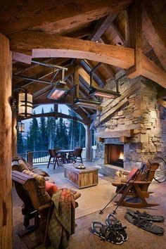 Outdoor living space stone fireplace