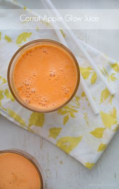 Carrot Apple Glow Juice by tasteloveandnourish: A combination of three juices that taste amazing and can help give your skin a vibrant glow. #Juice #Carrot #Apple #Orange