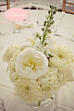All white wedding flowers