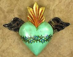 Mais Scared Heart Turquoise and gold winged heart
