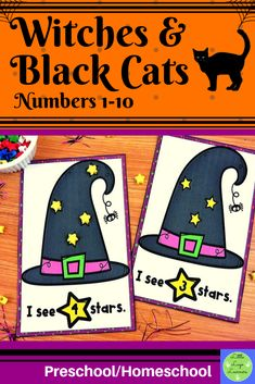 These Witches & Black Cats Number Lessons are the perfect addition for Math Centers for homeschool/preschool. This time saving, leveled resource is engaging with its vibrant pictures and stimulating content! Your multi-aged 3-4 year old children will enjoy learning about Halloween and numbers with these interactive lessons. Preschool Halloween, Halloween Witches, Halloween Activities, Morning Activities, Numbers 1 10, Cat Activity, Number Activities, Numbers Preschool, Time Saving