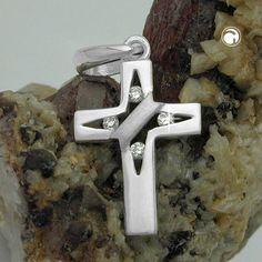Anhänger, Kreuz mit Zirkonia Silber 925  glänzend-matt, 4 kleine Zirkonias
