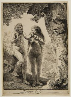 Rembrandt Harmensz van Rijn Dutch (Leiden 1606 - 1669 Amsterdam) Adam and Eve, 1638, Etching 16.2 x 11.6 cm | Harvard Art Museums