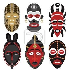 Illustration about This is the second illustration of vector African masks in my portfolio. No transparency and gradients used. Illustration of ethnic, culture, human - 10853855 African Art Projects, Art Du Monde, Afrique Art, Mask Drawing, Art Premier, Masks Art, African Masks, African Culture, African Design