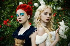 White Queen and Queen of Hearts Costumes - Alice in Wonderland