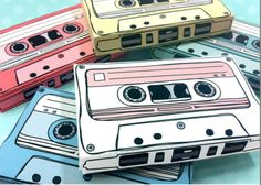 cassette tapes - gift card holders, party favor boxes, paper toy printable PDF kit - INSTANT gifts it yourself made Diy Father's Day Gifts, Father's Day Diy, Retro Oven, Deco Cool, Favor Boxes, Gift Boxes, Cake Boxes, Paper Toys, Party Favors