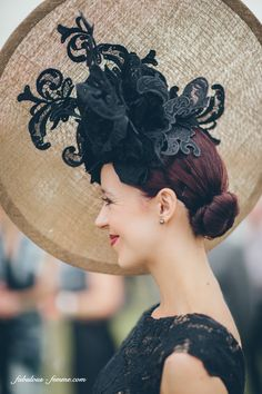 Bespoke Christie Millinery Hat with guipure lace trim
