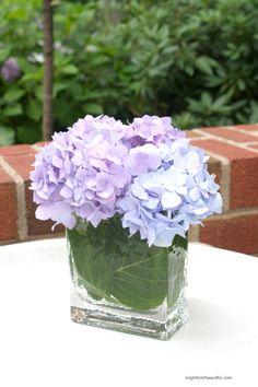 simple hydrangea arrangement - wrap leaves around glass vase base