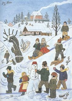 Josef Lada zima v obraze.Josef Lada Winter in the image . Funny Graphics, Childrens Illustrations, Christmas Art, Folk Art, Snow Scenes, Winter Scenes, Naive Art, Painting, Comic Book Cover