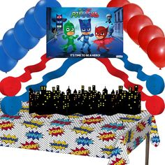 "This is an awesome decorations set for your PJ Masks party. Cool PJ Masks Wall Poster - 22"" x 34"" 24 Latex Balloons - 12 Red, 12 Blue 4 Streamer Rolls - 2 Red, 2 Blue - 81ft each roll Comic Plastic Ta"