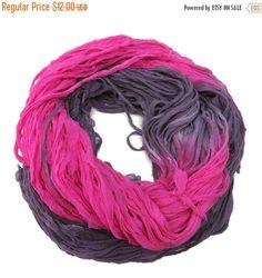 SALE Huge Sari Silk Crinkle Chiffon Ribbon skein , 100g, Violet / fuschia
