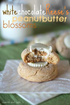 Thick peanut butter blossom cookies topped with a white chocolate mini peanut butter cup!