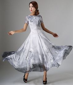 Womens butterfly dress - long chiffon dress tulle dress bridesmaid dress in grey -custom made - Cobain Play Party Dresses For Women, Wedding Party Dresses, Nice Dresses, Bridesmaid Dresses, Prom Dresses, Dress Prom, Grey Chiffon Dress, Tulle Dress, Chiffon Fabric