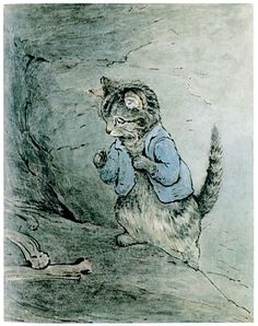 Beatrix Potter - illustration from The Tale of Tom Kitten. I will definitely read all of the Beatrix Potter books to our kids. Tales Of Beatrix Potter, Beatrix Potter Nursery, Beatrix Potter Illustrations, Beatrice Potter, Peter Rabbit And Friends, Book Illustration, Cat Art, Cats And Kittens, Vintage
