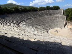 """The theatre at #Epidaurus (Greek: Επίδαυρος) #Peloponnese - """"The theater was designed by Polykleitos the Younger in the 4th century BC. The original 34 rows were extended in Roman times by another 21 rows. As is usual for Greek theatres (and as opposed to Roman ones), the view on a lush landscape behind the skênê is an integral part of the theatre itself and is not to be obscured. It seats up to 15,000 people."""" More: http://en.wikipedia.org/wiki/Epidaurus#Theatre"""