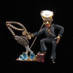 Enameled Sailor and Fish Pin, $45.00