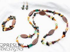 Wood, Glass, Plastic, & Bone Jewelry Set by KJPresley Designs  http://www.kjpresleydesigns.com/  #jewelry #necklace #bracelet #earrings @KJPresleyDesgns