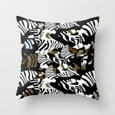 cubist zebra texture Throw Pillow