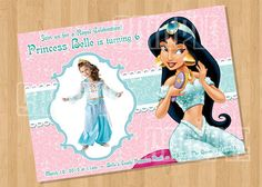 Disney Princess Jasmine - Aladdin Birthday Party Invitation by cutiesparties.com $8.00